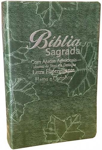 Bíblia Sagrada - LETRAS HIPERGIGANTES - Harpa Cristã - Palavras de Jesus são em Destaque - Almeida Tradicional - Tamanho Grande -  Capa Luxo - Verde Nobre