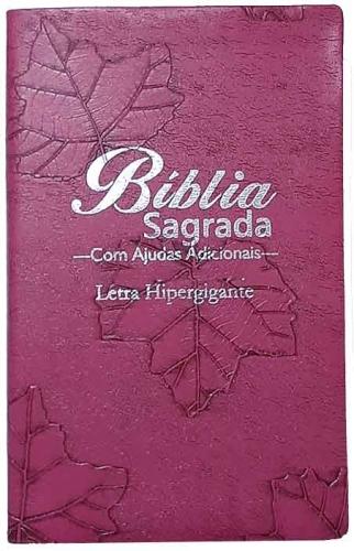 Bíblia Sagrada - LETRAS HIPERGIGANTES - Tamanho Grande - Palavras de Jesus são em Destaque - Almeida Tradicional - Índice na Lateral - Capa Luxo - Pink Folhas