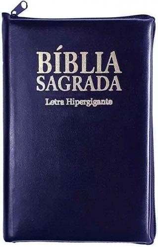 Bíblia Sagrada - LETRAS HIPERGIGANTES - Tamanho Grande - Palavras de Jesus são em Destaque - Almeida Tradicional - Índice na Lateral - Capa Zíper - Azul Nobre Nobre