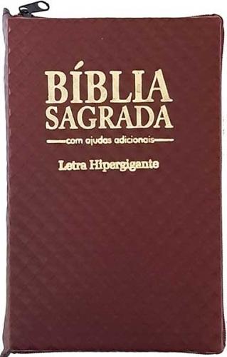 Bíblia Sagrada - LETRAS HIPERGIGANTES - Tamanho Grande - Palavras de Jesus são em Destaque - Almeida Tradicional - Índice na Lateral - Capa Zíper - Vinho Xadrez