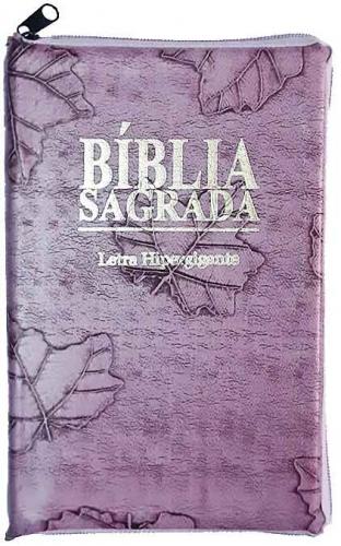 Bíblia Sagrada - LETRAS HIPERGIGANTES - Tamanho Grande - Palavras de Jesus são em Destaque - Almeida Tradicional - Índice na Lateral - Capa Zíper - Lilás
