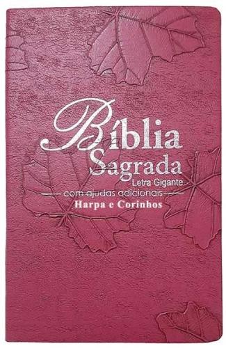 Bíblia Sagrada - Possui LETRAS GIGANTES - Harpa Cristã - Tamanho Grande - Slim Ultra fina - Versão Almeida - Luxo - Índice na Lateral - Auxílios - Pink Folha
