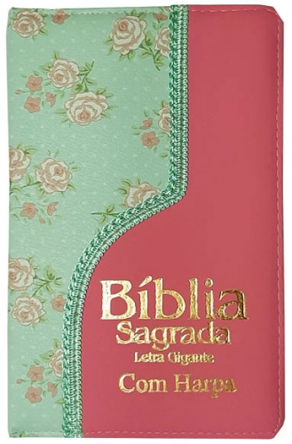 Bíblia Sagrada - Possui LETRAS GIGANTES - Harpa Cristã - Tamanho Grande - Slim Ultra fina - Versão Almeida - Luxo - Índice na Lateral - Duotone - Floral Verde e Rosa