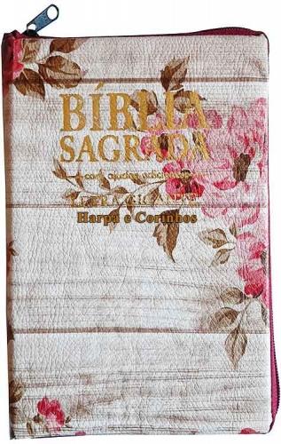 Bíblia Sagrada - Possui LETRAS GIGANTES - Harpa Cristã - Tamanho Grande - Slim Ultra fina - Versão Almeida - Zíper - Índice na Lateral - Auxílios - Rosas