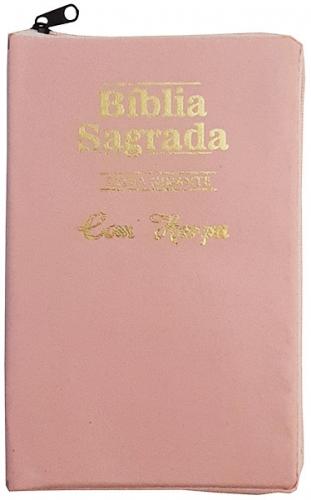 Bíblia Sagrada - Possui LETRAS GIGANTES - Harpa Cristã - Tamanho Grande - Slim Ultra fina - Versão Almeida - Zíper - Índice na Lateral - Auxílios - Rosa Claro Liso