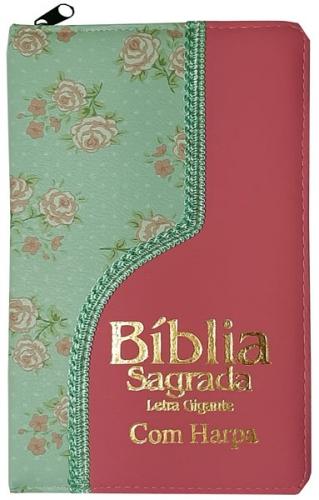 Bíblia Sagrada - Possui LETRAS GIGANTES - Harpa Cristã - Tamanho Grande - Slim Ultra fina - Versão Almeida - Zíper - Índice na Lateral - Duotone - Floral Verde e Rosa Claro
