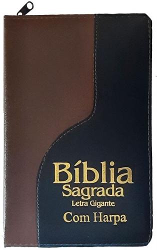 Bíblia Sagrada - Possui LETRAS GIGANTES - Harpa Cristã - Tamanho Grande - Slim Ultra fina - Versão Almeida - Zíper - Índice na Lateral - Duotone - Marrom Escuro e Preto