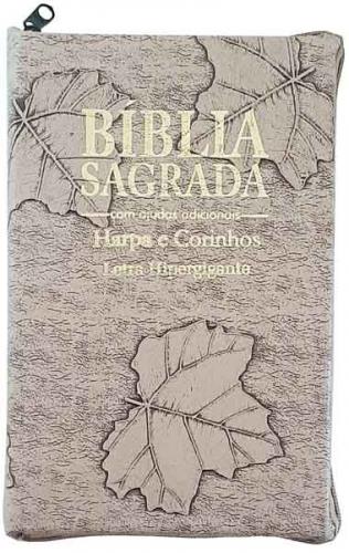Bíblia Sagrada - Possui LETRAS HIPERGIGANTES - Harpa Cristã - Tamanho Grande - Palavras de Jesus são em Destaque - Versão Almeida Tradicional - Zíper - Índice na Lateral - Auxílios - Marfim