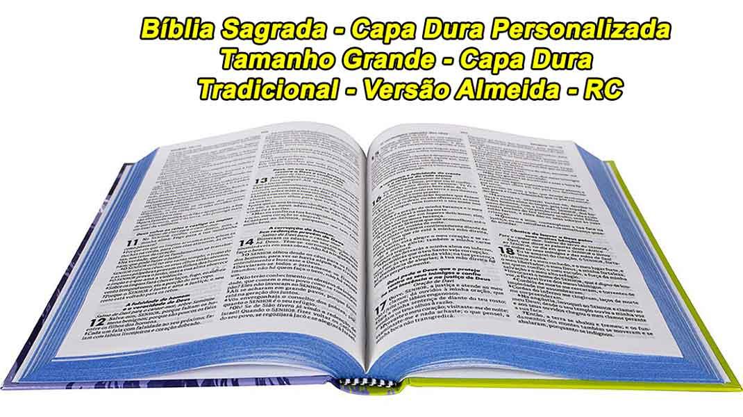 Bíblia Sagrada - Capa Dura Personalizada - Tamanho Grande - Capa Dura -  Versão Almeida - Capa Leão - RC