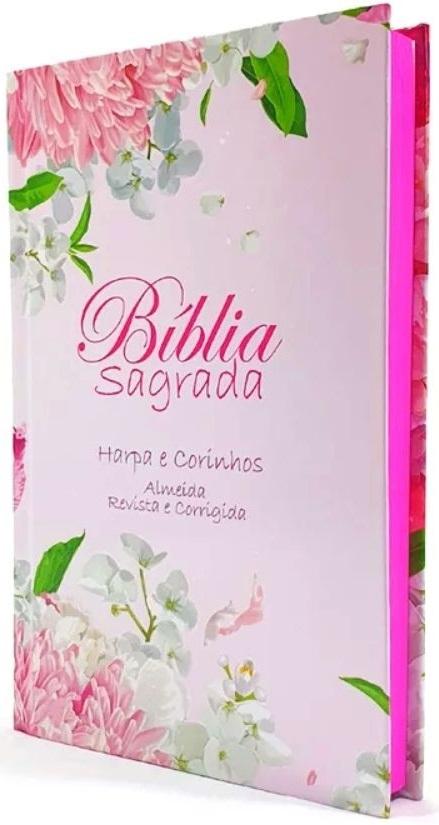 Bíblia Sagrada - Capa Personalizada Floral Rosas - Possui Tamanho Grande - Harpa Cristã - Ultra fina Slim - Almeida Tradicional - Capa Dura - RC