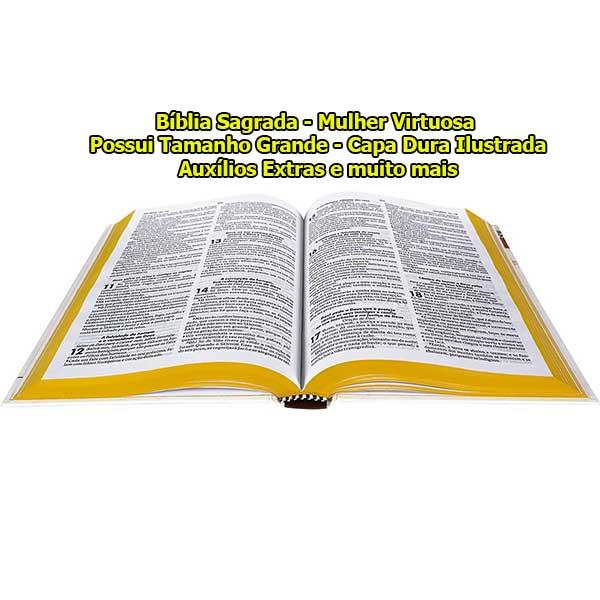 Bíblia Sagrada - Capa Personalizada Mulher Virtuosa - Ultra Fina Slim - Possui Tamanho Grande - Capa Dura Ilustrada - Versão Almeida - Auxílios Extras e muito mais - RC