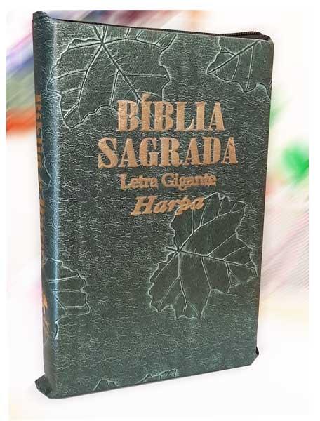 Bíblia Sagrada - LETRAS GIGANTES de fonte pequena - Harpa Cristã - Tamanho Grande -  Palavras em Destaque - Econômica - Almeida - Zíper - Verde Nobre