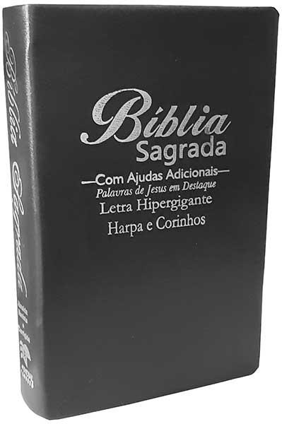 Bíblia Sagrada - LETRAS HIPERGIGANTES - Harpa Cristã - Palavras de Jesus são em Destaque - Almeida Tradicional - Tamanho Grande -  Capa Luxo - Preto Nobre