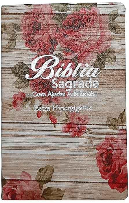 Bíblia Sagrada - LETRAS HIPERGIGANTES - Tamanho Grande - Palavras de Jesus são em Destaque - Almeida Tradicional - Índice na Lateral - Capa Luxo - Rosas