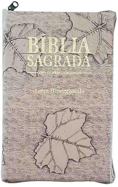 Bíblia Sagrada - LETRAS HIPERGIGANTES - Tamanho Grande - Palavras de Jesus são em Destaque - Almeida Tradicional - Índice na Lateral - Capa Zíper - Marfim