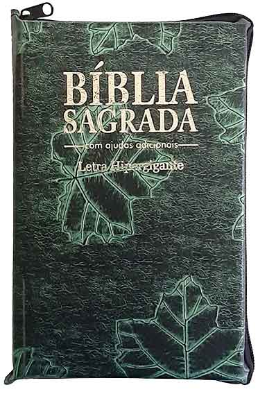 Bíblia Sagrada - LETRAS HIPERGIGANTES - Tamanho Grande - Palavras de Jesus são em Destaque - Almeida Tradicional - Índice na Lateral - Capa Zíper - Verde Nobre