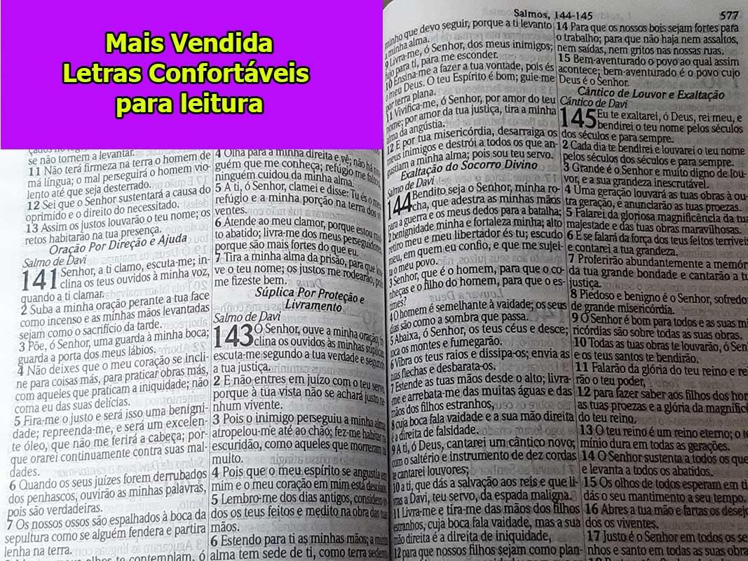 Bíblia Sagrada - Possui LETRAS GIGANTES - Harpa Cristã - Tamanho Grande - Slim Ultra fina - Versão Almeida - Luxo - Índice na Lateral - Auxílios - Preta Nobre
