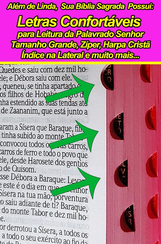 Bíblia Sagrada - Possui LETRAS GIGANTES - Harpa Cristã - Tamanho Grande - Slim Ultra fina - Versão Almeida - Zíper - Índice na Lateral - Duotone - Floral e Lilás