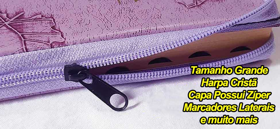 Bíblia Sagrada - Possui LETRAS GIGANTES - Harpa Cristã - Tamanho Grande - Slim Ultra fina - Versão Almeida - Zíper - Índice na Lateral - Auxílios - Lilás