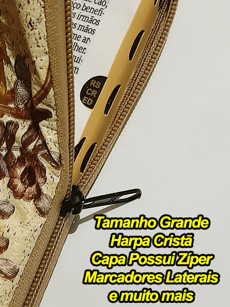 Bíblia Sagrada - Possui LETRAS GIGANTES - Harpa Cristã - Tamanho Grande - Slim Ultra fina - Versão Almeida - Zíper - Índice na Lateral - Auxílios - Amarelinha e Folhas
