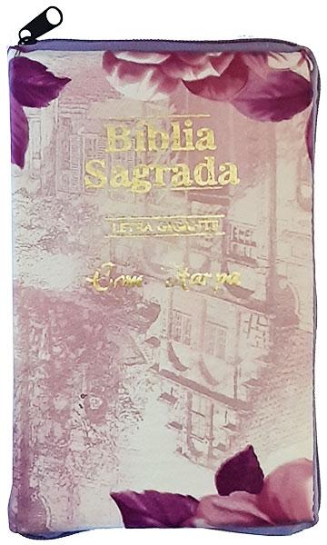 Bíblia Sagrada - Possui LETRAS GIGANTES - Harpa Cristã - Tamanho Grande - Slim Ultra fina - Versão Almeida - Zíper - Índice na Lateral - Auxílios - Branca e Folhas