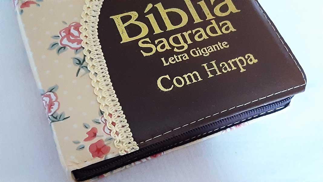 Bíblia Sagrada - Possui LETRAS GIGANTES - Harpa Cristã - Tamanho Grande - Slim Ultra fina - Versão Almeida - Zíper - Índice na Lateral - Duotone - Flores e Marrom