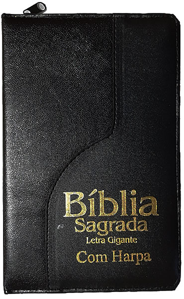 Bíblia Sagrada - Possui LETRAS GIGANTES - Harpa Cristã - Tamanho Grande - Slim Ultra fina - Versão Almeida - Zíper - Índice na Lateral - Duotone - Preto Dual