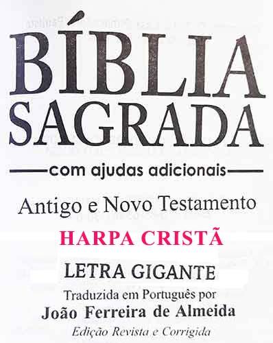 Bíblia Sagrada - Possui LETRAS GIGANTES - Harpa Cristã - Tamanho Grande - Slim Ultra fina - Versão Almeida - Zíper - Índice na Lateral - Triotone - Preto, Branco e Vinho
