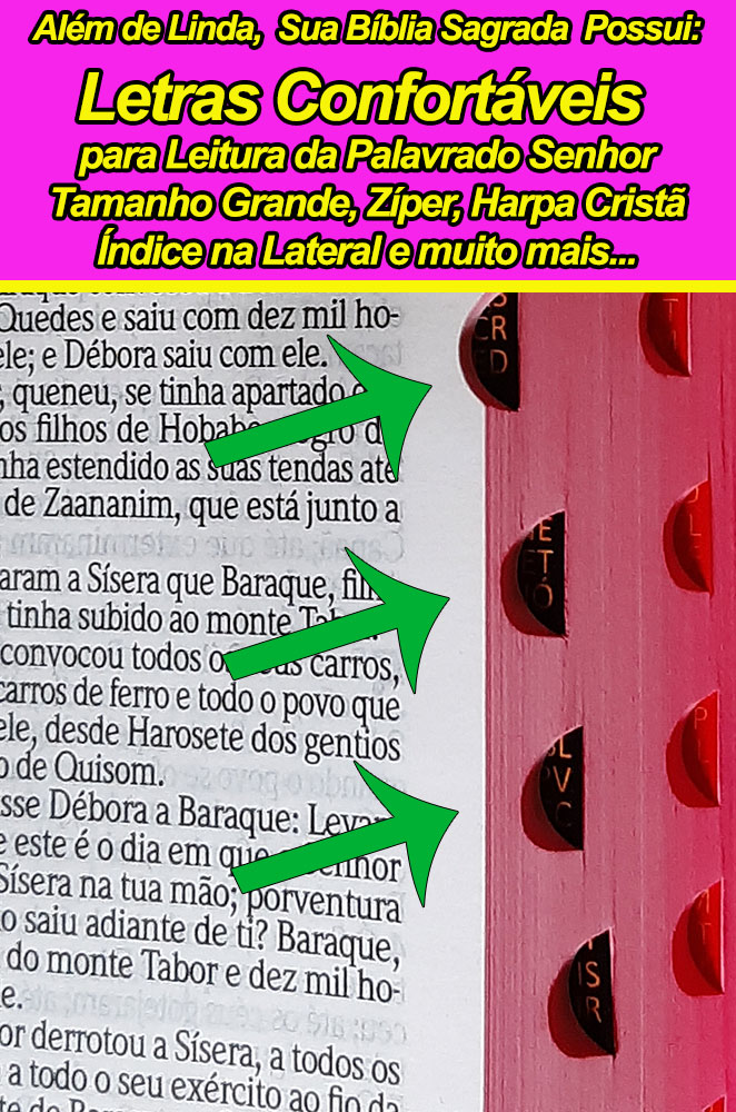 Bíblia Sagrada - Possui LETRAS GIGANTES - Harpa Cristã - Tamanho Grande - Slim Ultra fina - Versão Almeida - Zíper - Índice na Lateral - Triotone - Pink, Branco e Floral