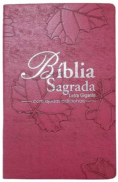 Bíblia Sagrada - Possui LETRAS GIGANTES - Tamanho Grande - Slim Ultra fina - Versão Almeida Tradicional - Luxo - Índice na Lateral - Auxílios - Pink Folhas
