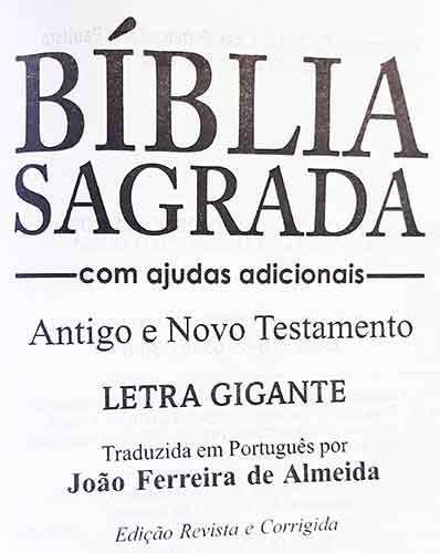 Bíblia Sagrada - Possui LETRAS GIGANTES - Tamanho Grande - Slim Ultra fina - Versão Almeida Tradicional - Luxo - Índice na Lateral - Auxílios - Preto Nobre