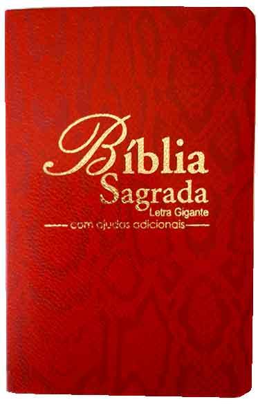 Bíblia Sagrada - Possui LETRAS GIGANTES - Tamanho Grande - Slim Ultra fina - Versão Almeida Tradicional - Luxo - Índice na Lateral - Auxílios - Red