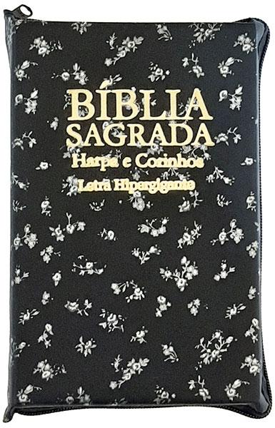 Bíblia Sagrada - Possui LETRAS HIPERGIGANTES - Harpa Cristã - Tamanho Grande - Palavras de Jesus são em Destaque - Versão Almeida Tradicional - Zíper - Índice na Lateral - Auxílios - Preta e Florzinha