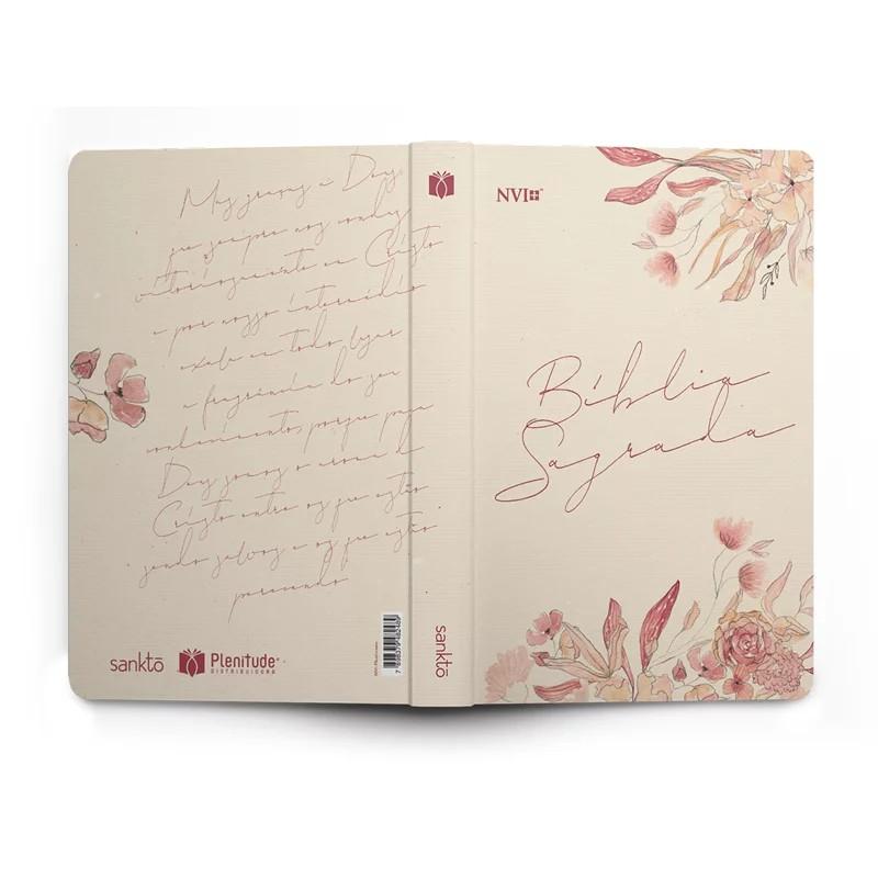 Bíblia Sagrada - Capa Personalizada Floral Creme - Tamanho Grande - Ultra fina Slim - Linguagem Simples para Entendimento - Capa Dura - Versão NVI