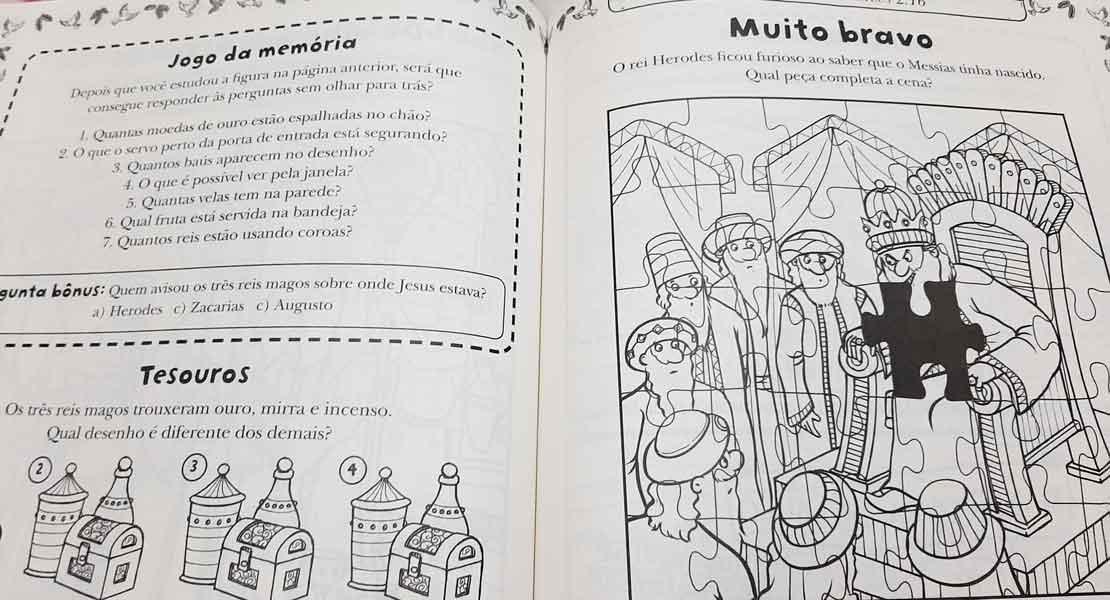 Histórias da Bíblia - Livro de Atividades - Passatempos, jogos dos 7 erros, caça-palavras, quebra-cabeças, e vários desenhos para pintar e muito mais