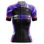 Camisa Ciclismo Brk Feminina Abstract Roxa com UV 50+
