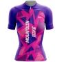 Camisa Ciclismo Brk Feminina Geometric Pink com UV 50+
