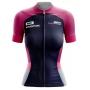 Camisa Ciclismo Brk Feminina Rosa com Azul Escuro com UV 50+