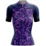 Camisa Ciclismo Brk Feminina Roxo Vintage com UV 50+