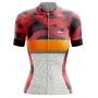 Camisa de Ciclismo Feminina Abstract Red and White Brk com UV50+