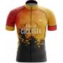 Camisa de Ciclismo Masculina Vida de Ciclista Orange Grunge Brk com UV50+
