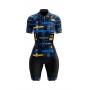 Macaquinho Ciclismo Feminino Azul e Amarelo Brk com UV50+