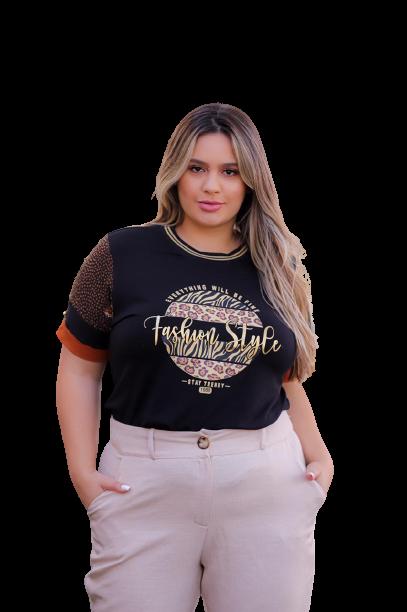 T-Shirt Animal Print Fashion Style Plus Size