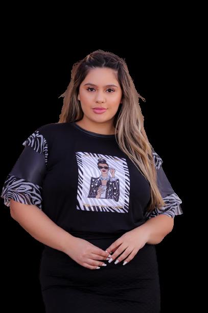 T-Shirt Aplicações Zebra Plus Size