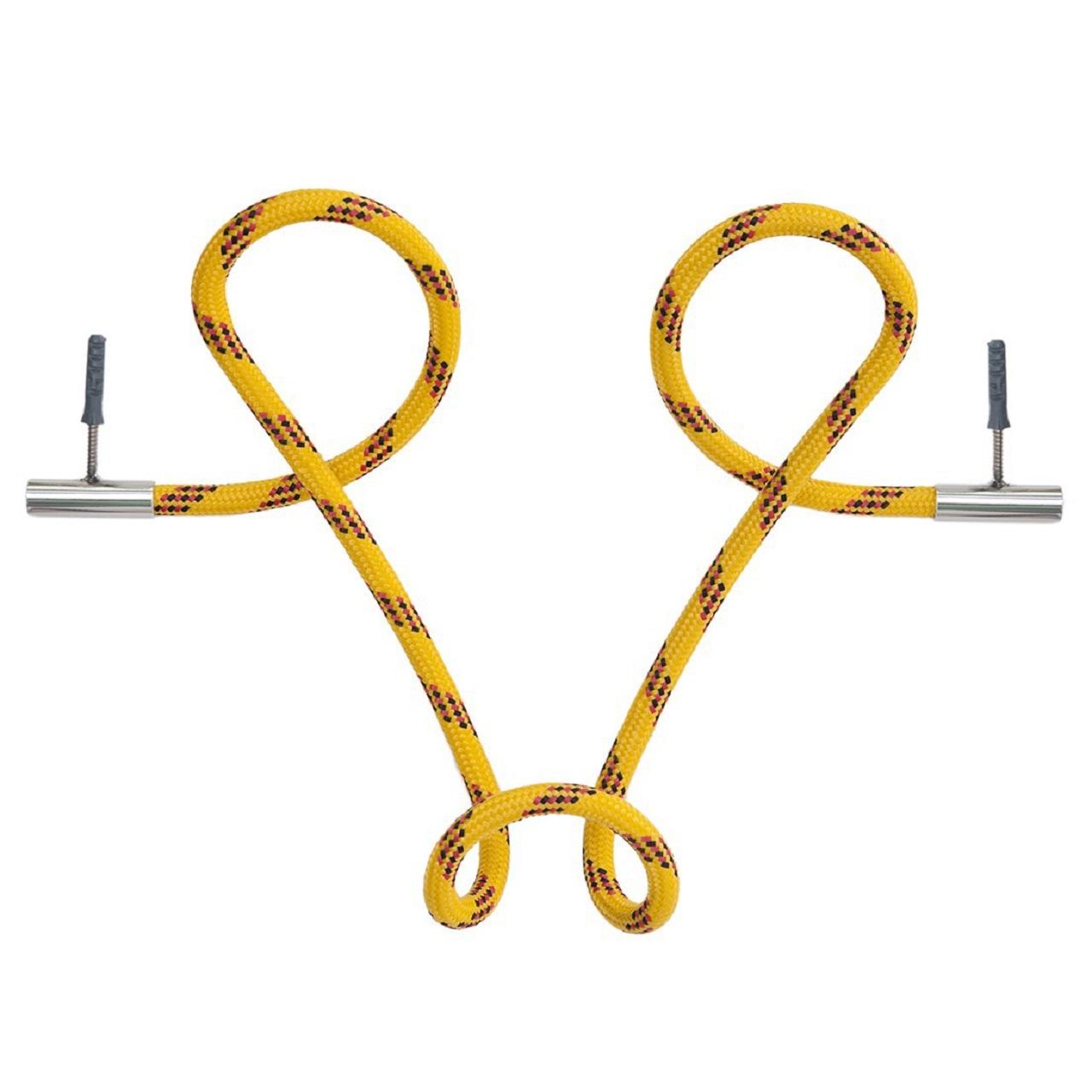 Cabideiro Laço Revestido Corda |  Amarelo Listrado