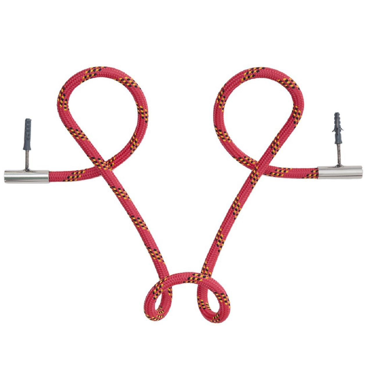 Cabideiro Laço Revestido Corda | Vermelho Listrado