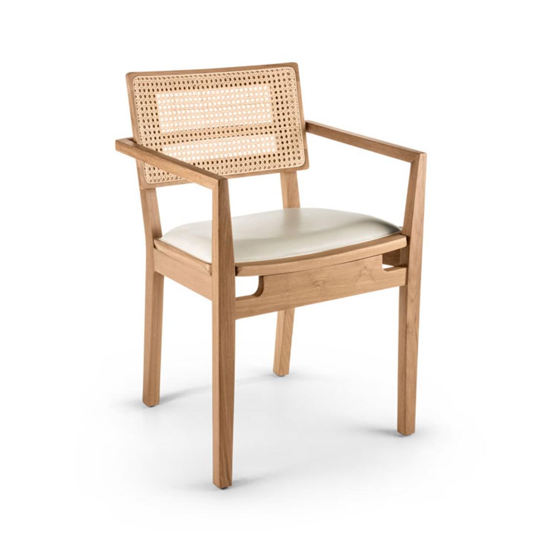 Cadeira Quadrada com Braço Assento Estofado | freijó natural