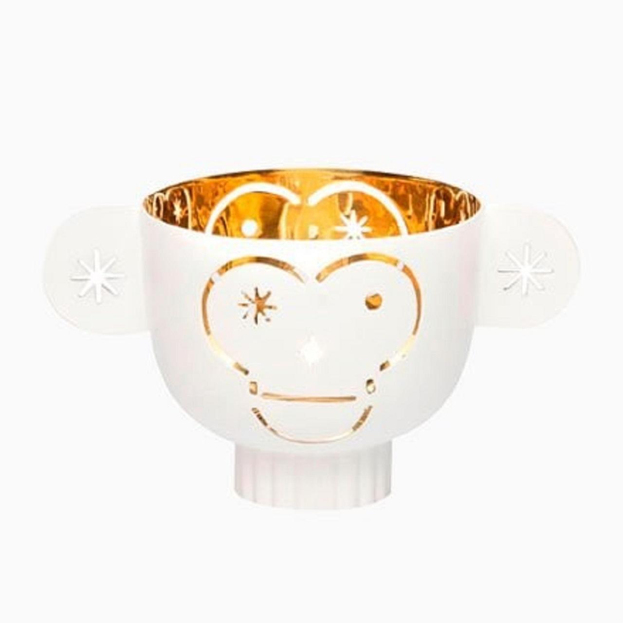 Castiçal Monkos | branco e dourado