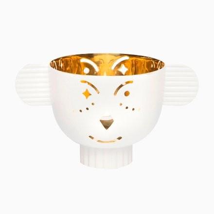 Castiçal Pipoz | dourado e branco