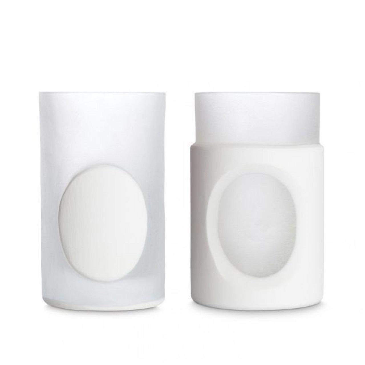 Conjunto 2 Vasos Esculpidos  | branco